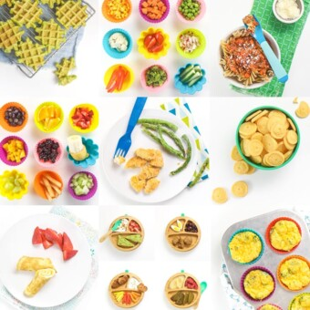 Grid of baby led weaning starter foods and recipes.