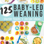 Graphic for Post - Baby Led Weaning Starter Foods and Recipes Ideas. Images are a grid of healthy foods for baby and toddler.