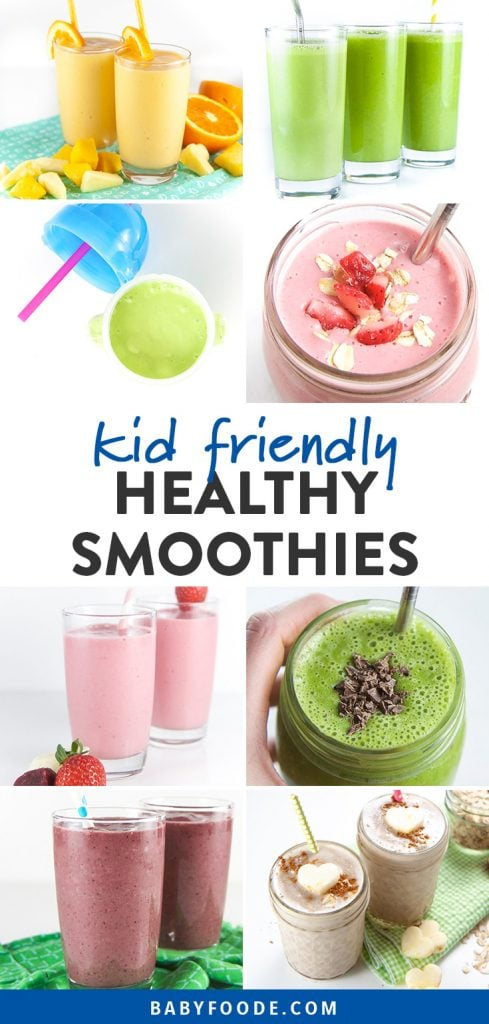 Pinterest collage for a post about healthy smoothie recipes for kids and toddlers.