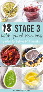 Graphic for Post - 18 stage 3 baby food recipes - perfect for babies 9-12 months. Images are a grid of chunky combination purees.