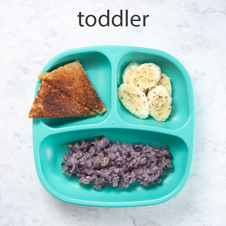 How to serve blueberry oatmeal to toddlers.