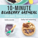 Graphic for post - blueberry oatmeal for baby, toddler and kids. Image is of a bowl of blueberry oatmeal with bananas and frozen blueberries on top as well as a grid of photos of how to serve as a baby puree, baby led weaning, toddler and kids.