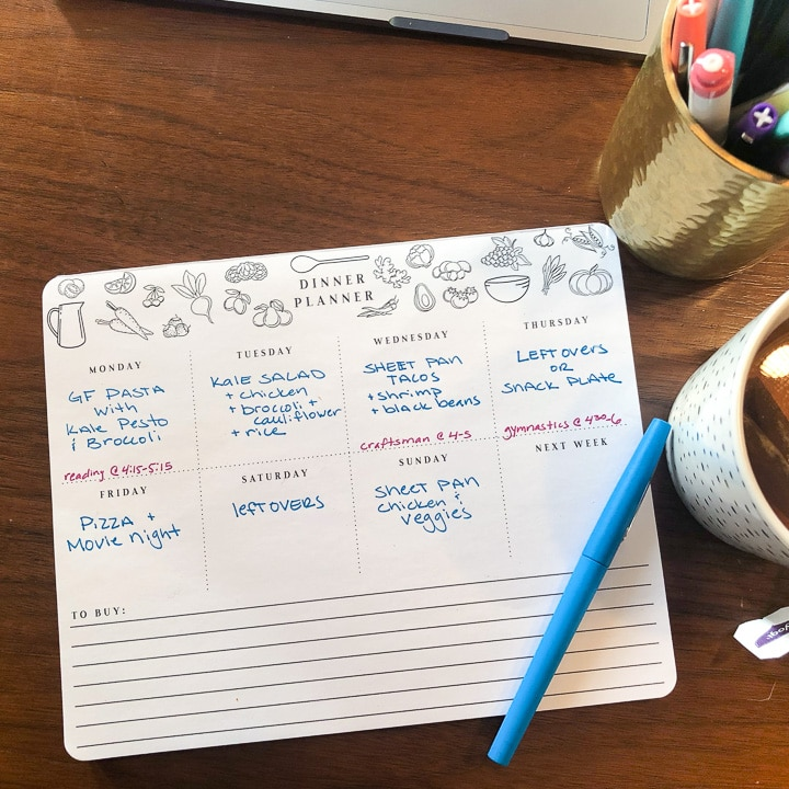pad of paper with meal plan for the week.