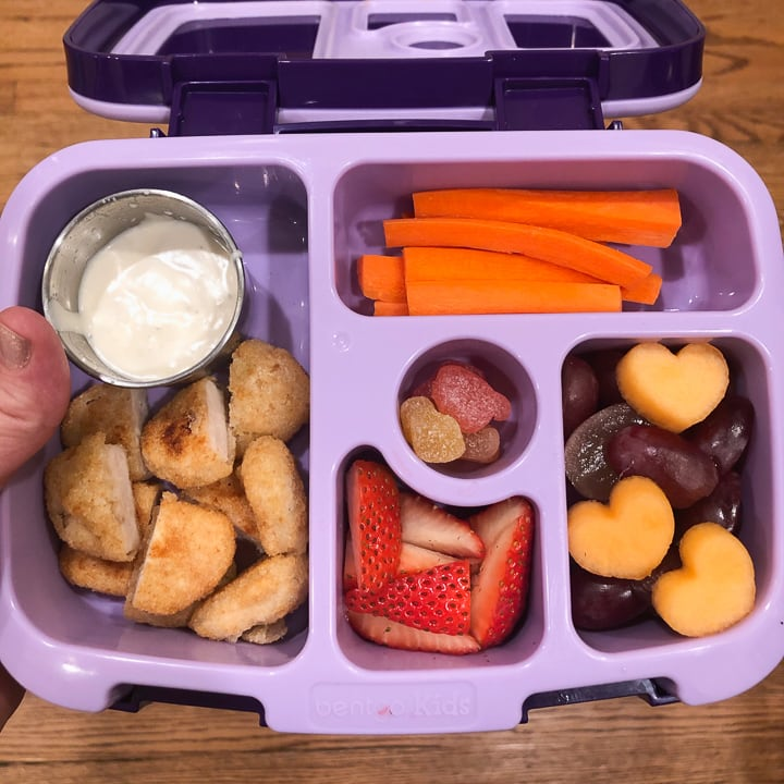Kids lunch made with foods that I family meal prep.