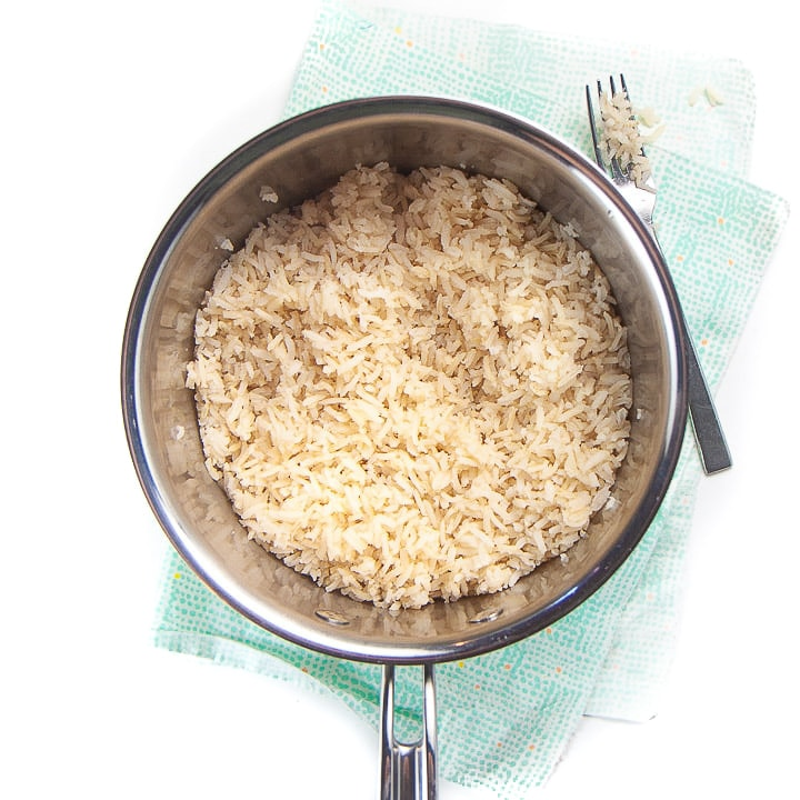 Cooked rice in a medium saucepan.