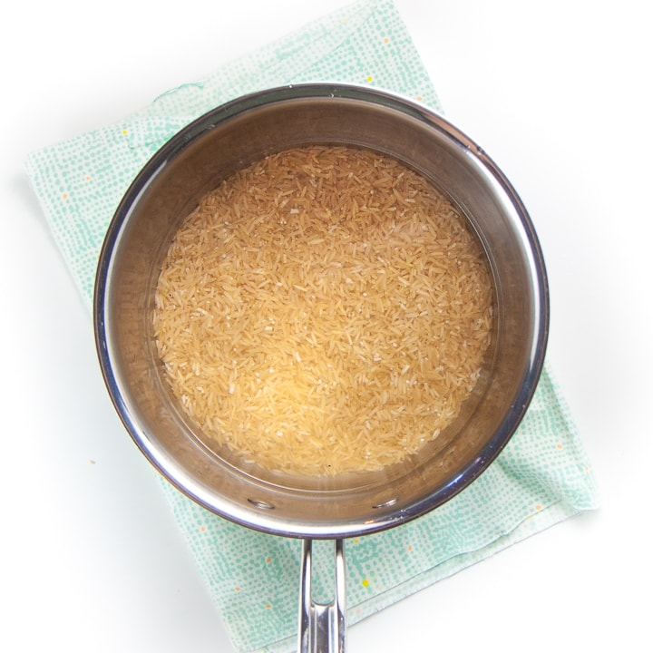silver saucepan filled with water and rice.
