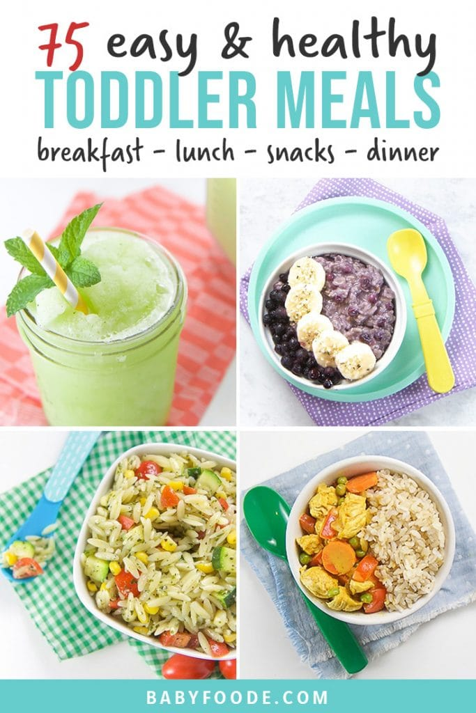 Pinterest collage for a post about healthy toddler recipes - breakfast, lunch, dinner, snacks, and treats.
