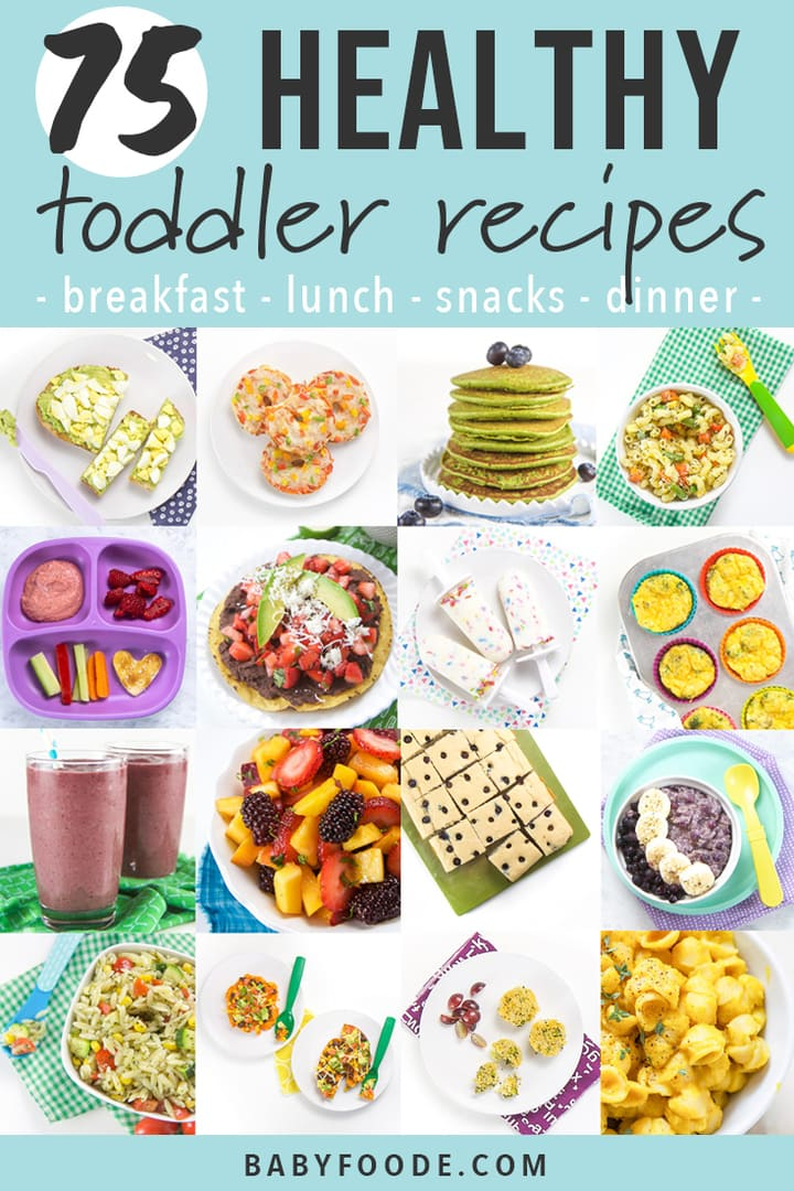 Graphic for Post - 75 Healthy Toddler Recipes for breakfast, lunch, snacks and dinner with a grid of images of toddler meals.