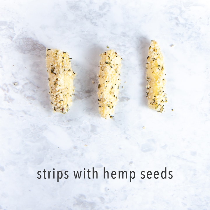 chunks of banana rolled in hemp seeds