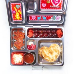 School lunch box with healthy diy heart pizza punchable.