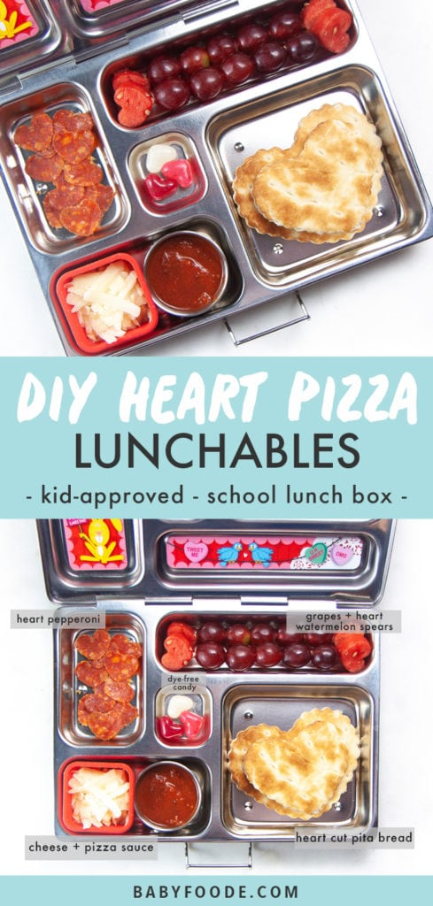 Graphic for post - diy heart pizza punchable - kid approved - school lunch box - image of a bento box with healthy lunch inside.