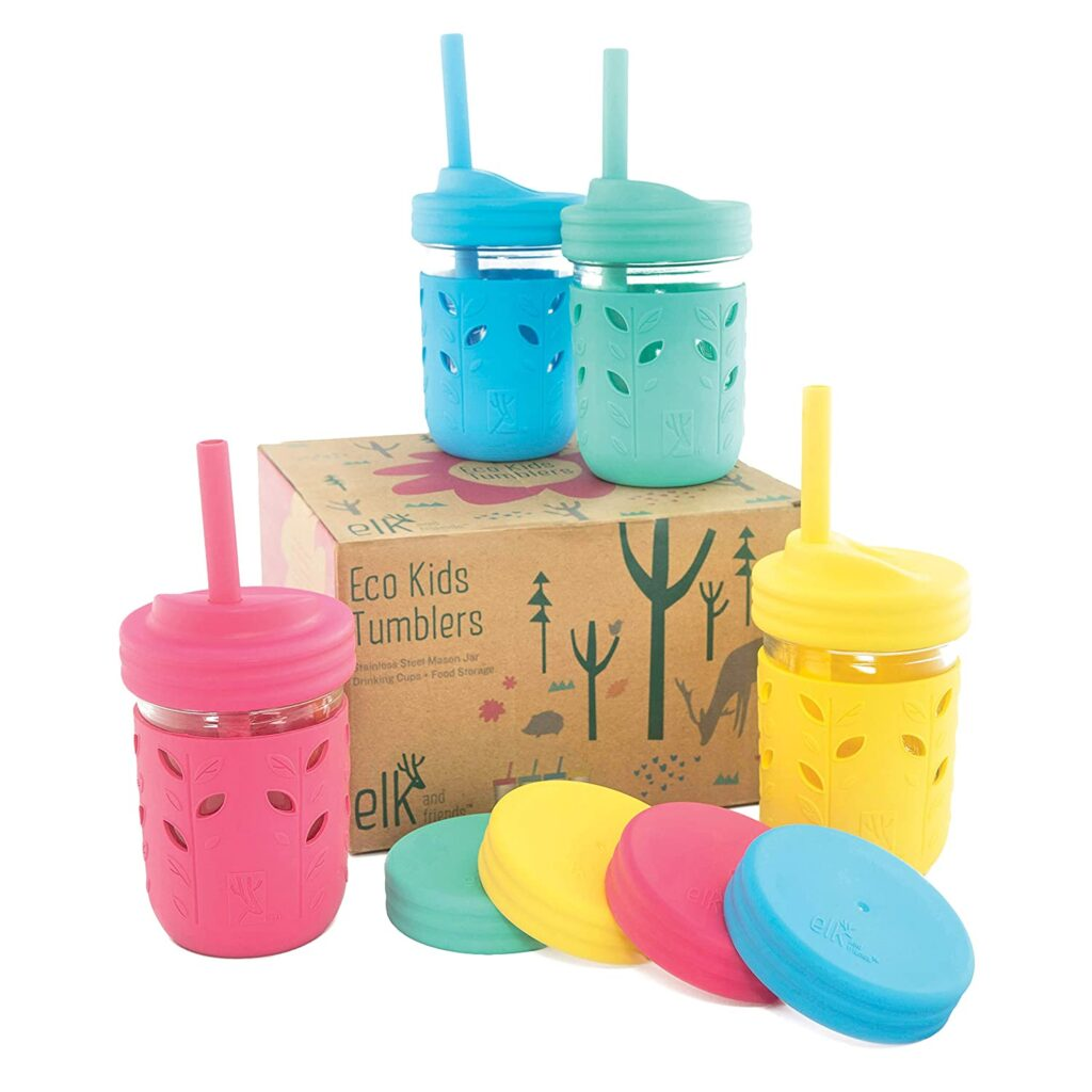 glass jars with colorful linings for toddler drinks and smoothies.