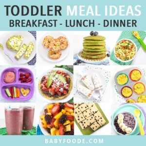 Graphic for Post - toddler meal ideas - breakfast- lunch - dinner. Images are in a grid of different fun meal ideas for toddlers.