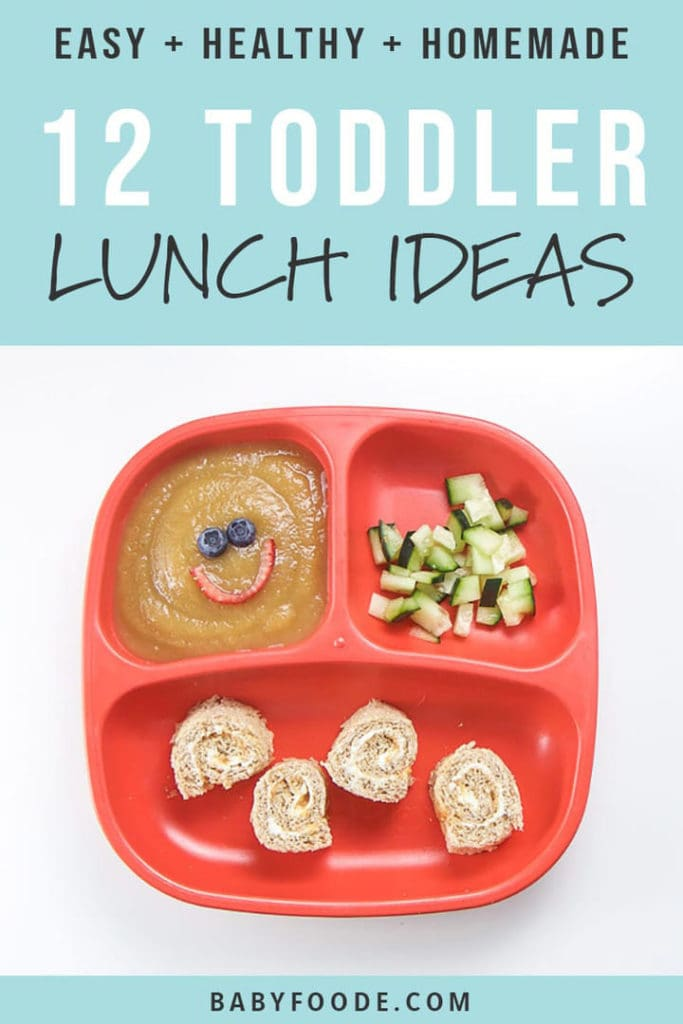 Pinterest image for a round-up post about healthy lunch ideas for toddlers.