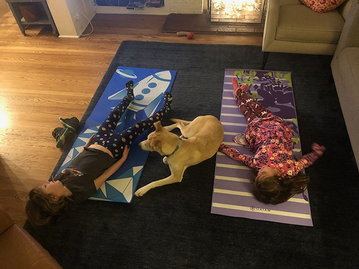 2 kids and a dog doing yoga.