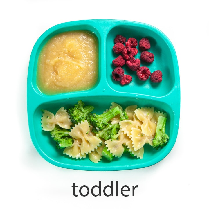 Toddler version of garlic broccoli pasta.