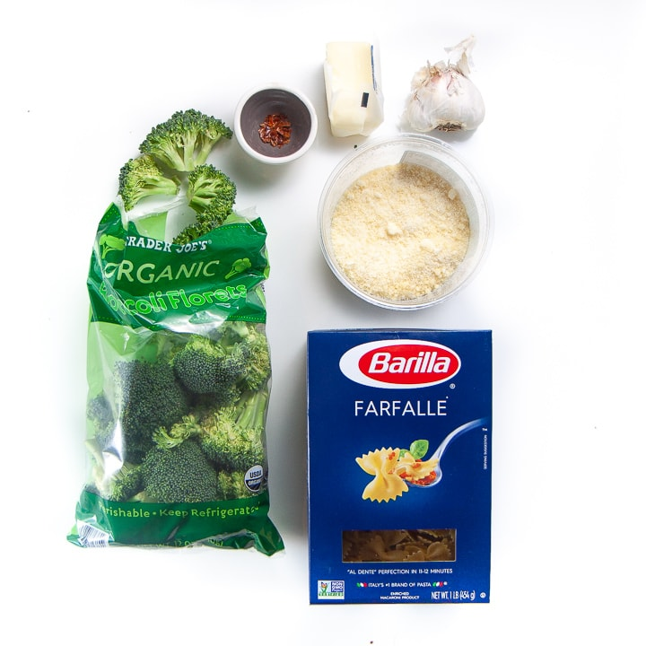Easy pantry ingredients for an easy family dinner of garlic and broccoli pasta.