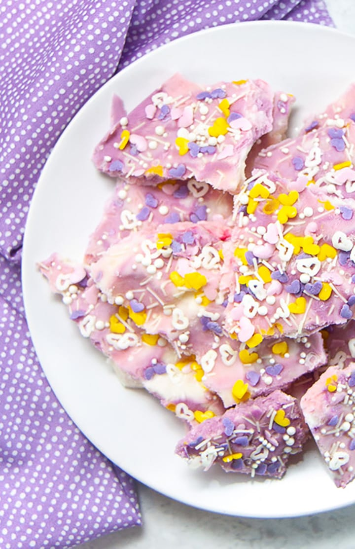 plate of frozen unicorn bark.
