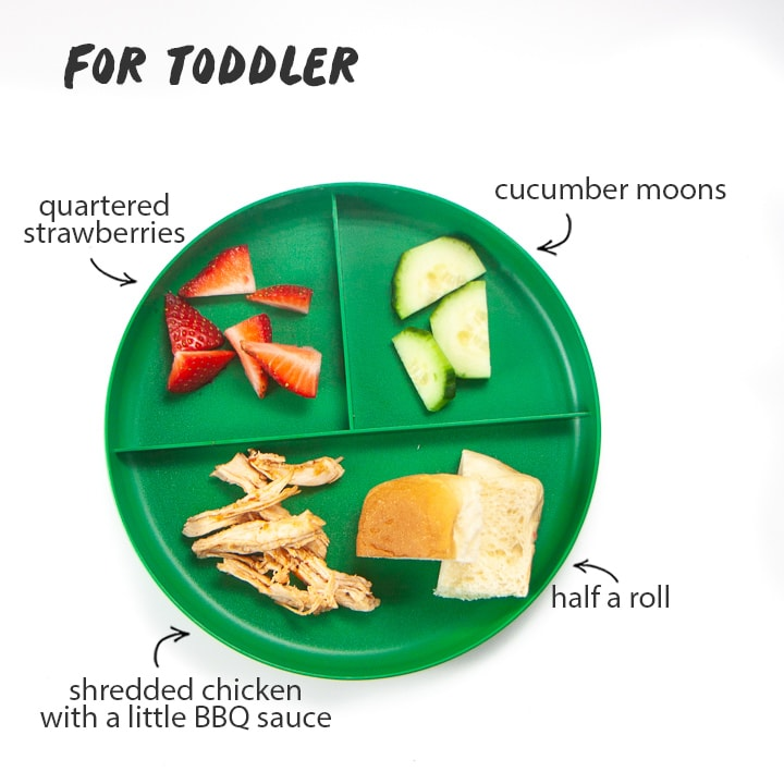 toddler plate shows how to make the instant pot bbq chicken for toddlers