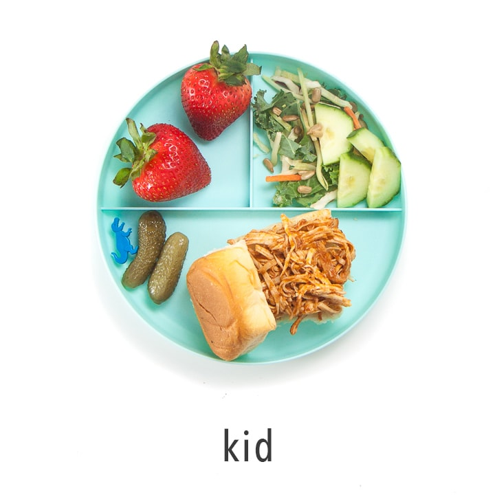 Kid plate shows how to serve this to kids.