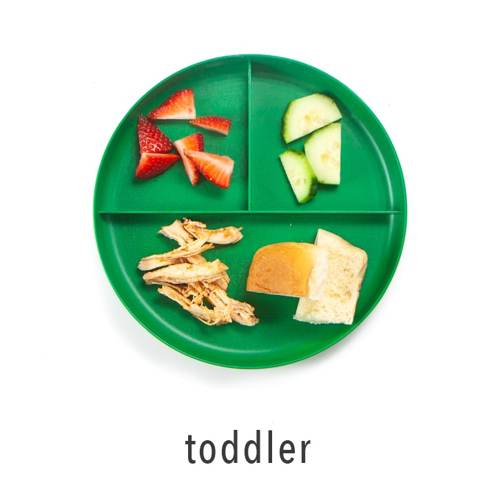 Toddler plate shows how to serve bbq chicken to young eaters.