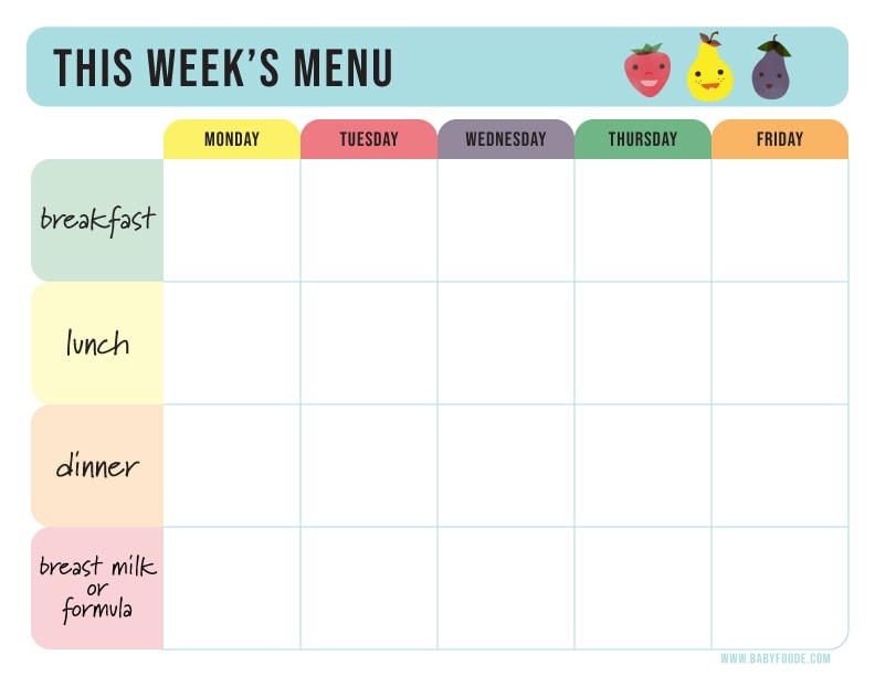 Baby food weekly menu for baby 6 months and up