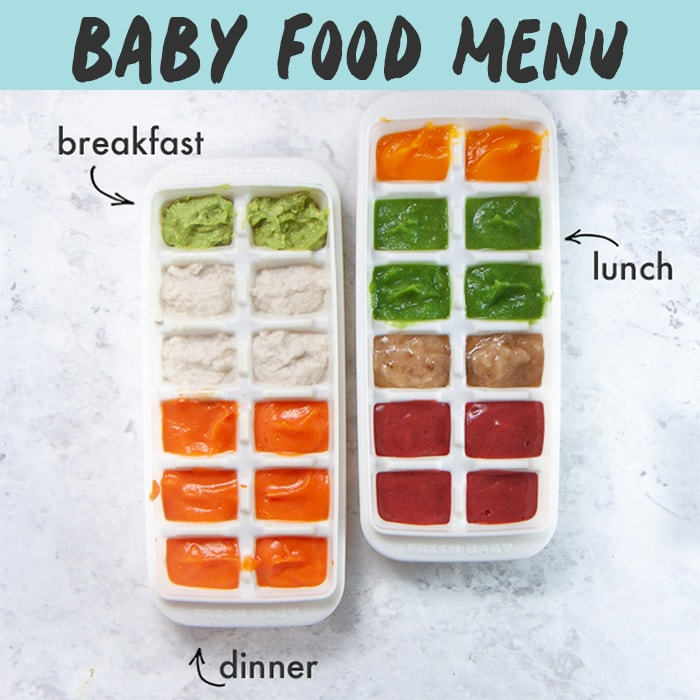 Baby Food Menu with 2 trays of baby food purees for breakfast, lunch and dinner.
