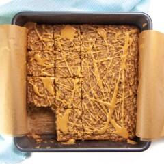 banana peanut butter oatmeal bake with slices cut out.