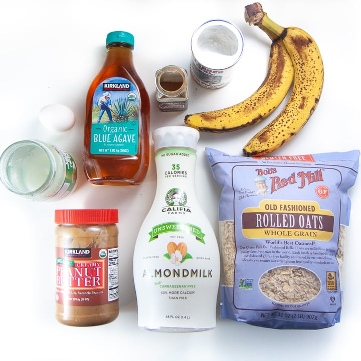 spread of ingredients for kid approved banana peanutbutter bake.