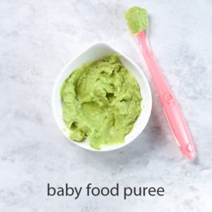 avocado baby food puree for one of baby's first foods