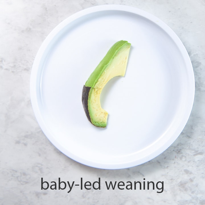 slice of avocado for baby led weaning.
