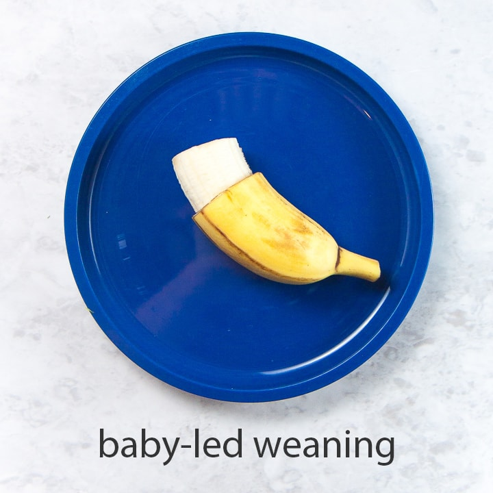 banana with a grip for baby led weaning - best first foods for baby.
