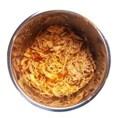 Instant pot full of salsa chicken for family taco night