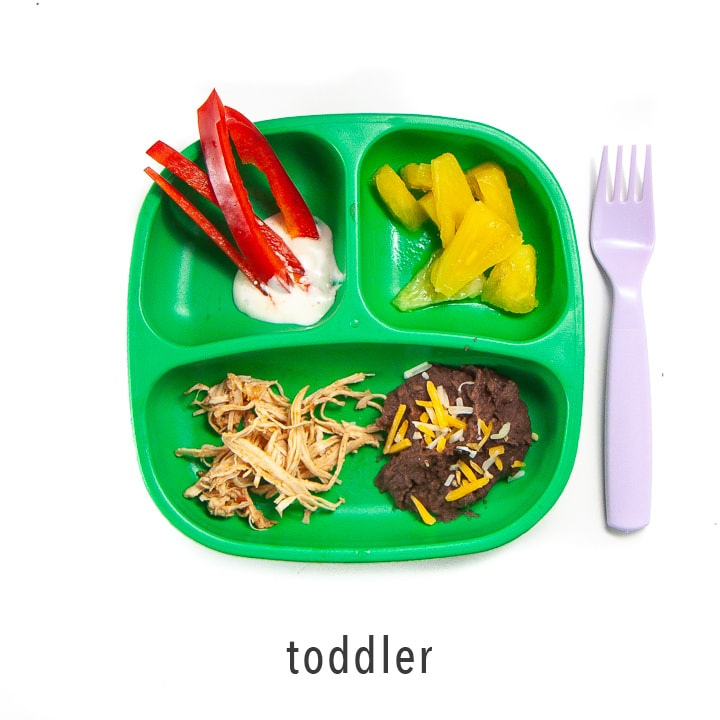 Toddlers plate is ready to eat - great for picky eaters.