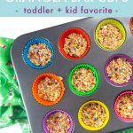Graphic for Post - Funfetti Granola Bar Cups - toddler and kid favorite. Images are of a muffin tin filled with colorful liners and filled with granola bars.