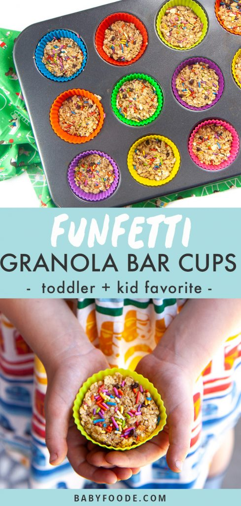 Graphic for Post - Funfetti Granola Bar Cups - toddler and kid favorite. Images are of a muffin tin filled with colorful liners and filled with granola bars and hands holding a granola bar cup.