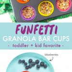 Graphic for Post - Funfetti Granola Bar Cups - toddler and kid favorite. Images are of a muffin tin filled with colorful liners and filled with granola bars and a kids snack plate.