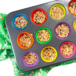 Tray of funfetti granola bars in colorful silicon cups.