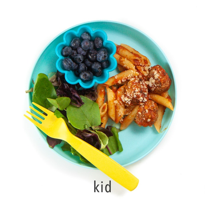 A kids plate showing how you can serve this meal to a kid or adult.