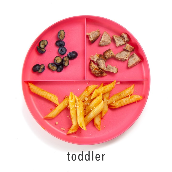 A plate with these meatballs and sides for toddler.