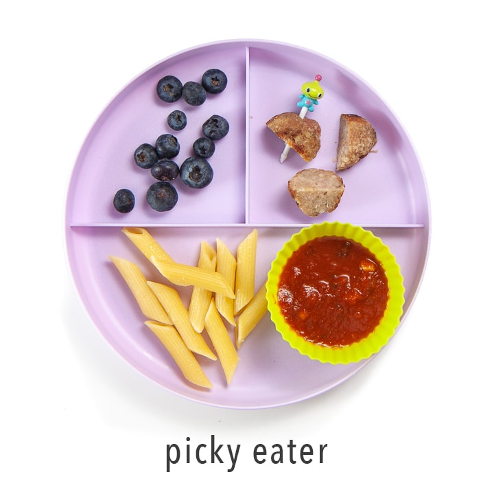 Picky Eater plate on how to serve these chicken meatballs to a kid that isn't into them.