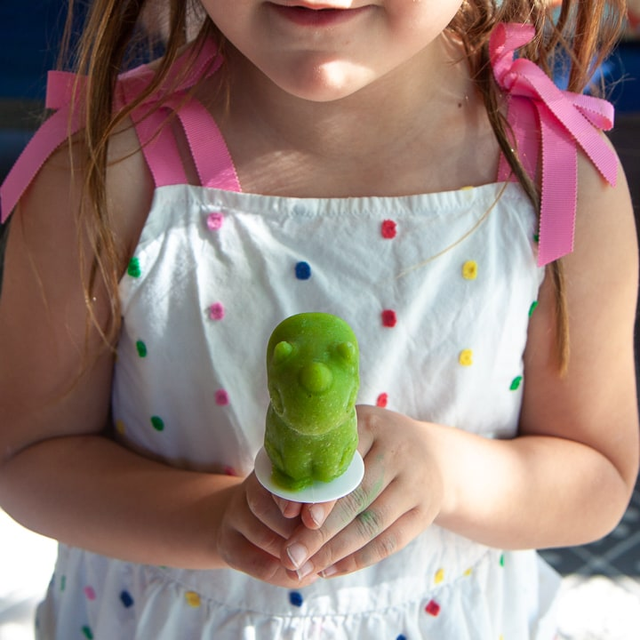 Girl holding a green tropical smoothie popsicle.