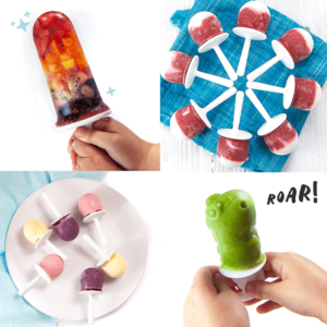 grid of four healthy popsicles.