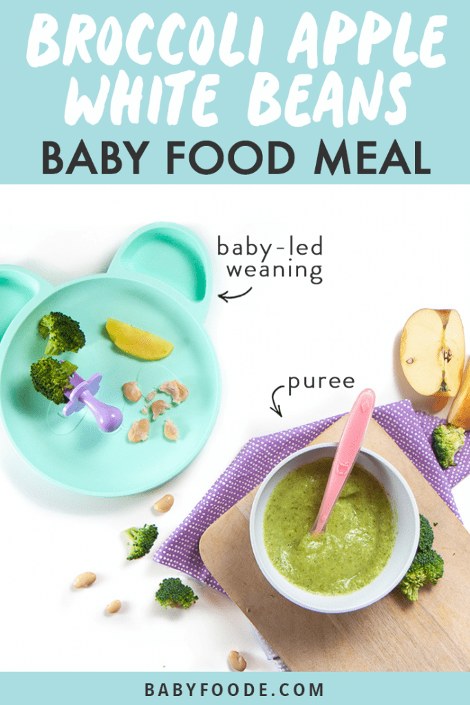 Graphic for Post - Broccoli, Apple and White Bean Baby Food Meal - great for baby food puree or for baby-led weaning with images of how to serve them to baby both ways.