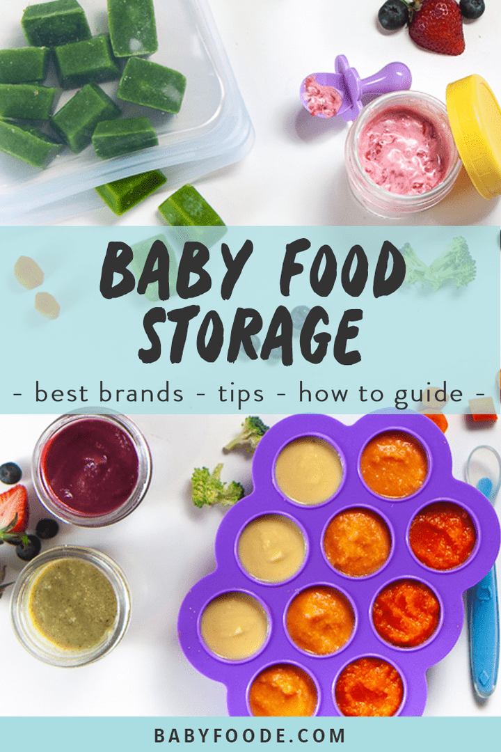 Graphic for Post - baby food storage - best brands - tips - how to guide with a spread of storage containers with baby food purees inside.