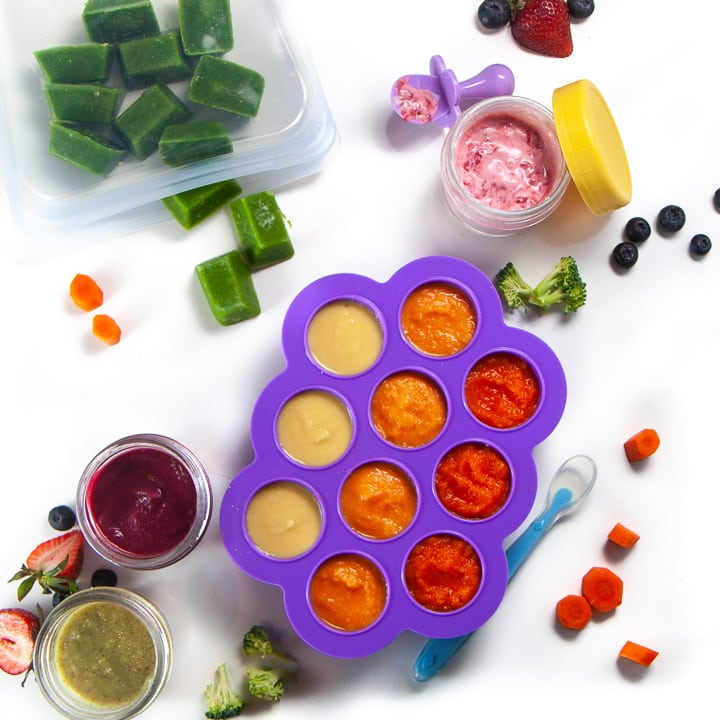Spread of different baby food storage containers.