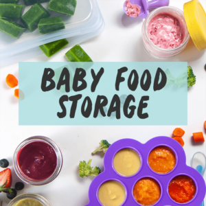Baby food storage - with spread of chopped fruits and veggies in storage containers.