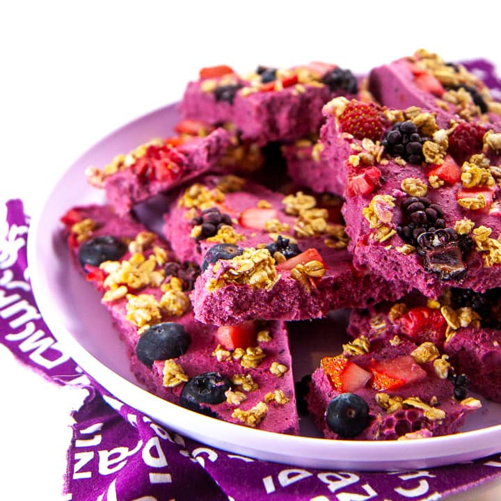 Plate full of berry granola bark for toddlers and kids.