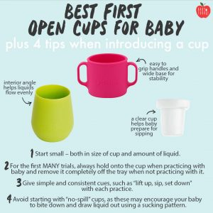 Graphic for Post - best first open cups for baby - plus 4 tips when introducing a cup. Images are of 3 colorful baby cups.