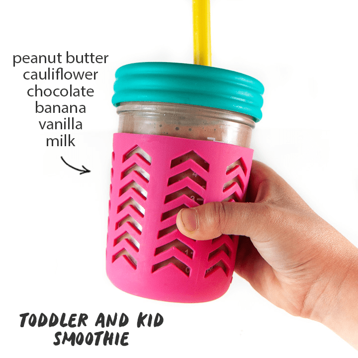 Toddler and Kid smoothie - peanut butter, cauliflower, chocolate, banana, vanilla and milk.